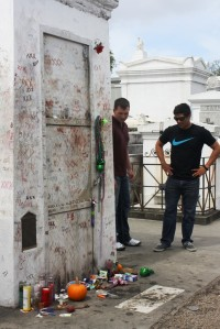 Coby and Jake at Marie Laveau's grave
